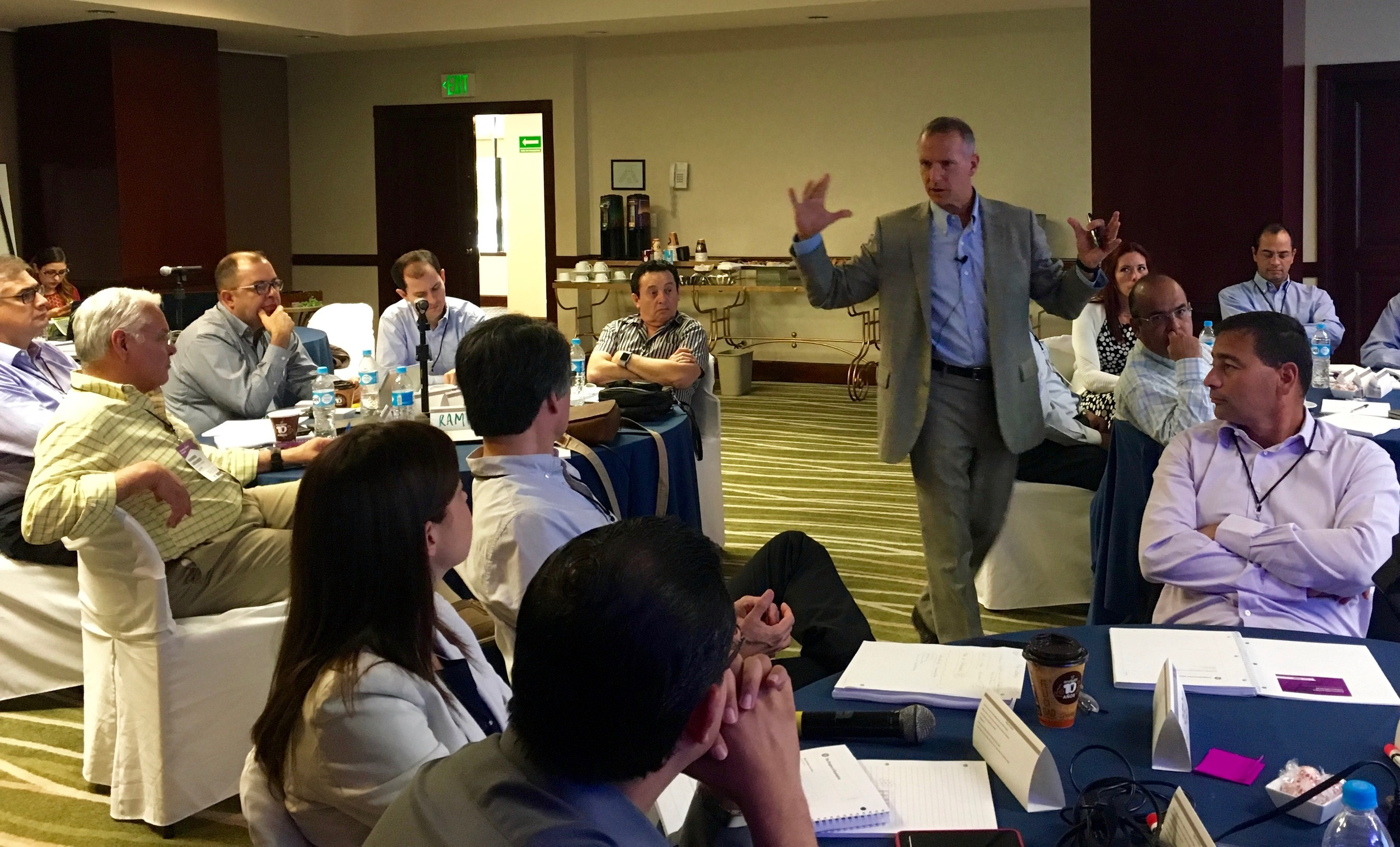Leading a management seminar in Monterrey, Mexico