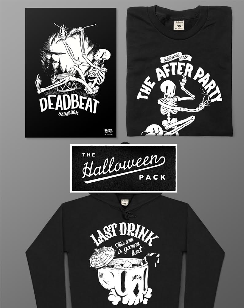 In the spirit of shitting your pants we're offering a halloween themed selection of tricky treats: our Halloween Pack!  Why waste your hard earned cash on a crappy costume when you can get the After Party t-shirt, Last Drink hoody & the Deadbeat art print (numbered & limited edition - 29,7x42cm) for only 79.90€ instead of 119,90€!    Get it here:  http://bit.ly/1RwEj3k
