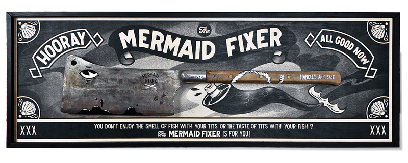 The Mermaid Fixer !    • original antic meat cleaver, hand painted   • Digital print on birch wood    • framed   •120 x 60 cm    http://deli.mcbess.com/europe_euro_sf/mermaid-fixer-0204605400.html    Please make sure to select your correct region, before ordering.