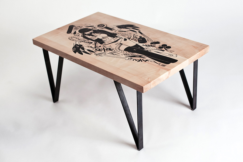 I had the chance to work with   The Substain    and do this collaborative coffee table, it's hand made and screen printed with one of my drawing. It's very sturdy so you can have sex on it and the heigh it's just right, the photos speak fo themselves. They're made on demand for 600€, so you can stop drinking your coffee like a cunt .