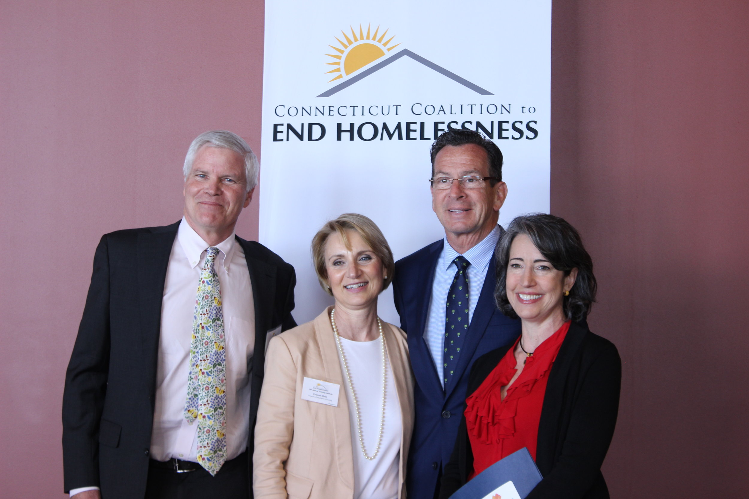 Left to Right: David Rich (Supportive Housing Works), Commissioner of Housing Evonne M. Klein, Governor Dannel P. Malloy, and Lisa Tepper Bates (Connecticut Coalition to End Homelessness).