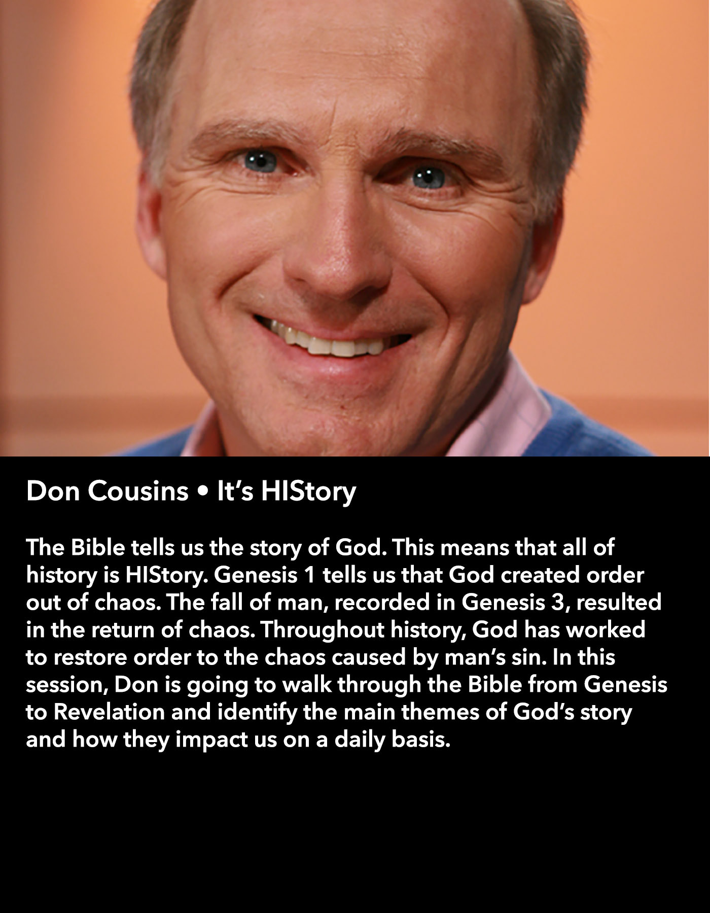 Don Cousins • It's HIStory • Saturday Morning, March 18 • 10:30 – 11:45 am
