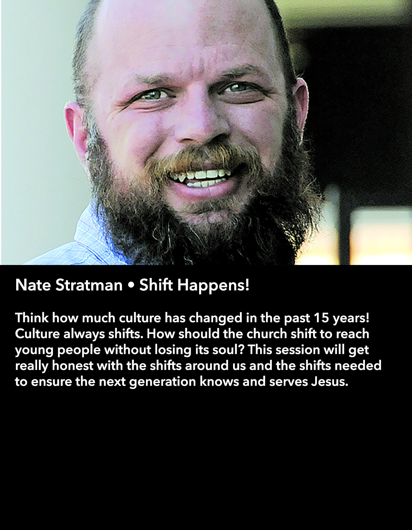 Nate Stratman • Shift Happens! • Saturday Morning, March 18 • 10:30 – 11:45 am