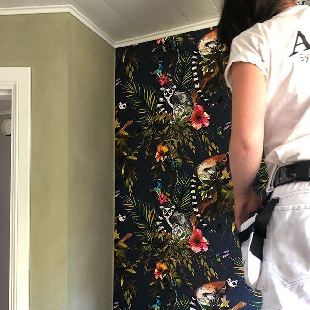 För att få harmoni i ett rum med fondtapet är det enklast att först handla tapet och sen måla väggarna med en nyans ur tapetmönstret. Här har vi matchat InTrades Imaginarium Lemur-tapet med @av_jord #18maj80  #dammen #imaginarium #intrade #äggoljetempera