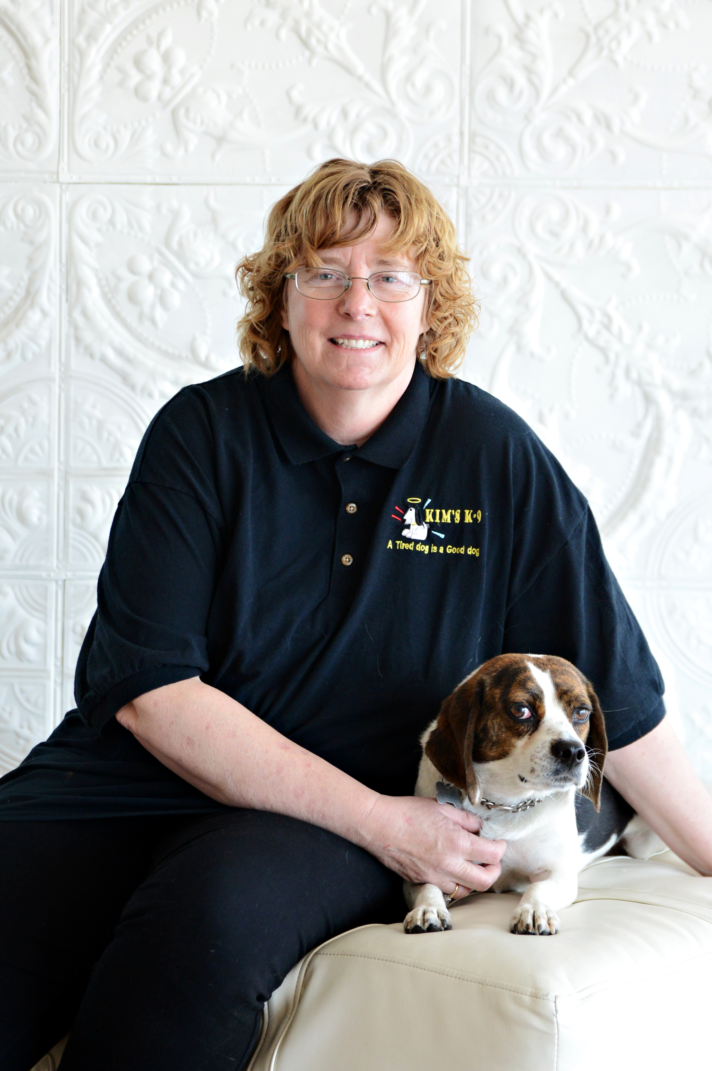 Kim Steffes- Owner, Certified Professional Dog Trainer - Kim is blessed to be able to follow her heart's passion: dogs. The kid who always brought strays home, Kim's love for animals has only grown. Certified as a professional dog trainer in 1987 from National K-9, she is also a professional member of the International Association of Canine Professionals (IACP). She has attended ongoing education with some of the highest ranking trainers in the world. Her hope is that you will allow her education, experience and dedication to take your relationship with your dog to the max! Kim has been happily married for over 30 years, has two grown children and an amazing granddaughter. She has shared her life with many truly awesome dogs. Currently, she has one adopted dog a tiny beagle named Squirt.