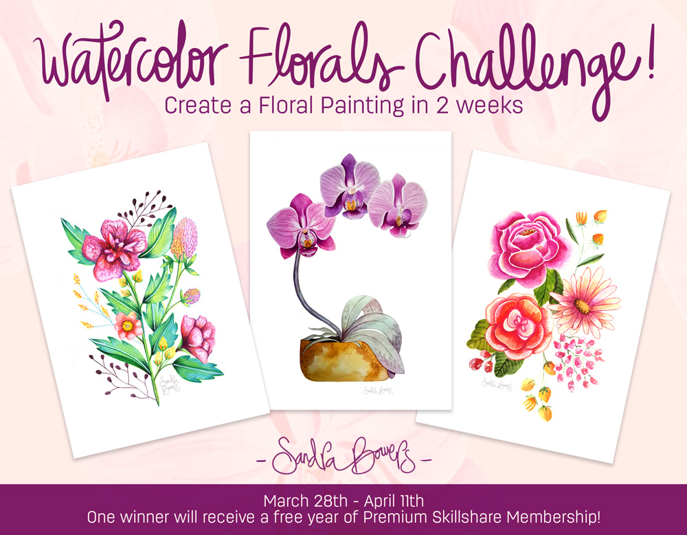 watercolor florals Sandra Bowers