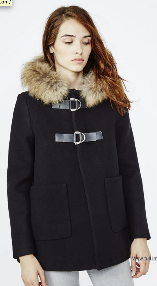 2nd Trimester: MAJE, GATITO Swing Coat w/ fur-edged hood, $1010 at  Maje