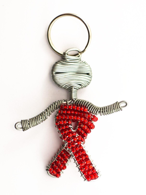 Beaded Aids ribbon figure keyring