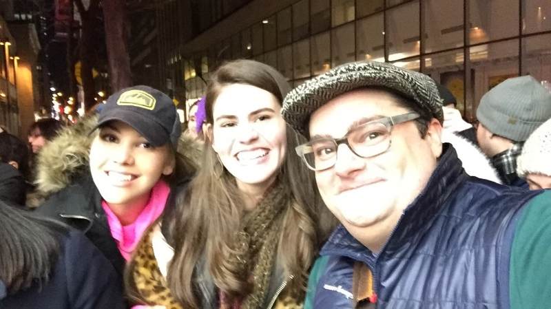 With my friend, Nicole (left), and Bobby Moynihan (right) from the SNL cast, outside 30 Rockefeller Plaza.