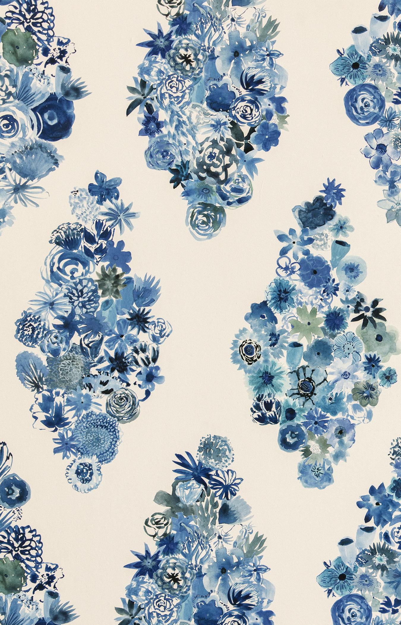 Flora Casbah Blue Floral Wallpaper Flat Vernacular