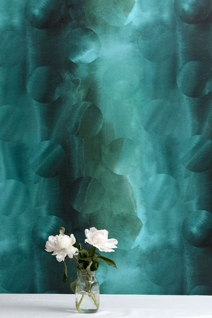Turritella in Kelp is a deep malachite green, faded mint, and evergreen wallpaper.