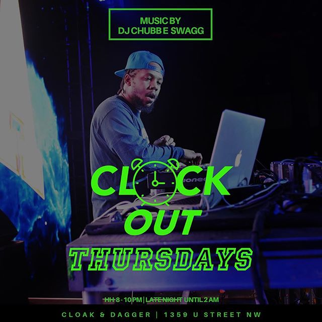 Big @djchubbeswagg in the booth tonight .  Happy hour vibes by @mickeyrockz .  @vchizi at the downstairs bar and happy hour specials featuring @crownroyal and @dussecognac until 10pm.  @jss.chelsea @vita.coco_ @icah_deguz with libations & vapes.  Beat us there ! #cloakdaggerdc #cloakthursdays