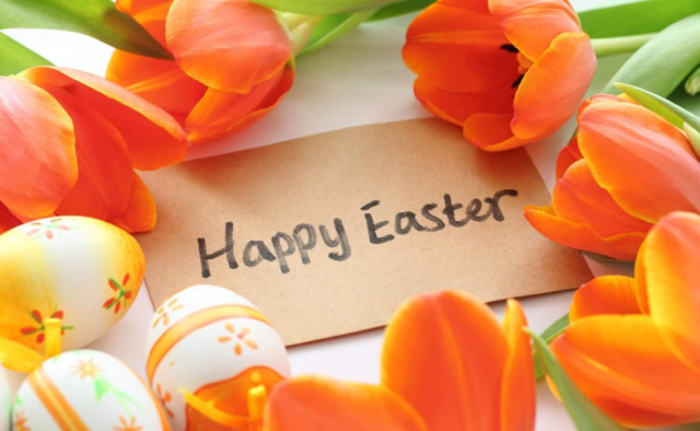Happy Easter image orange tulips.png