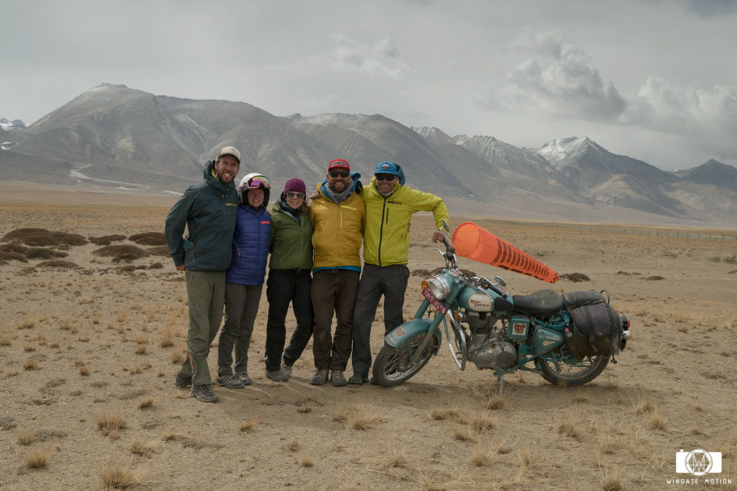 The team makes it all the way to the Tibetan boarder with the last running Royal Enfield.  Cody, Cherise Tuttle, Isabella Messenger, Nick Greece, Jamie Messenger.