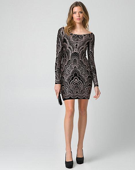 Sparkle Knit Boat Neck Tunic Dress