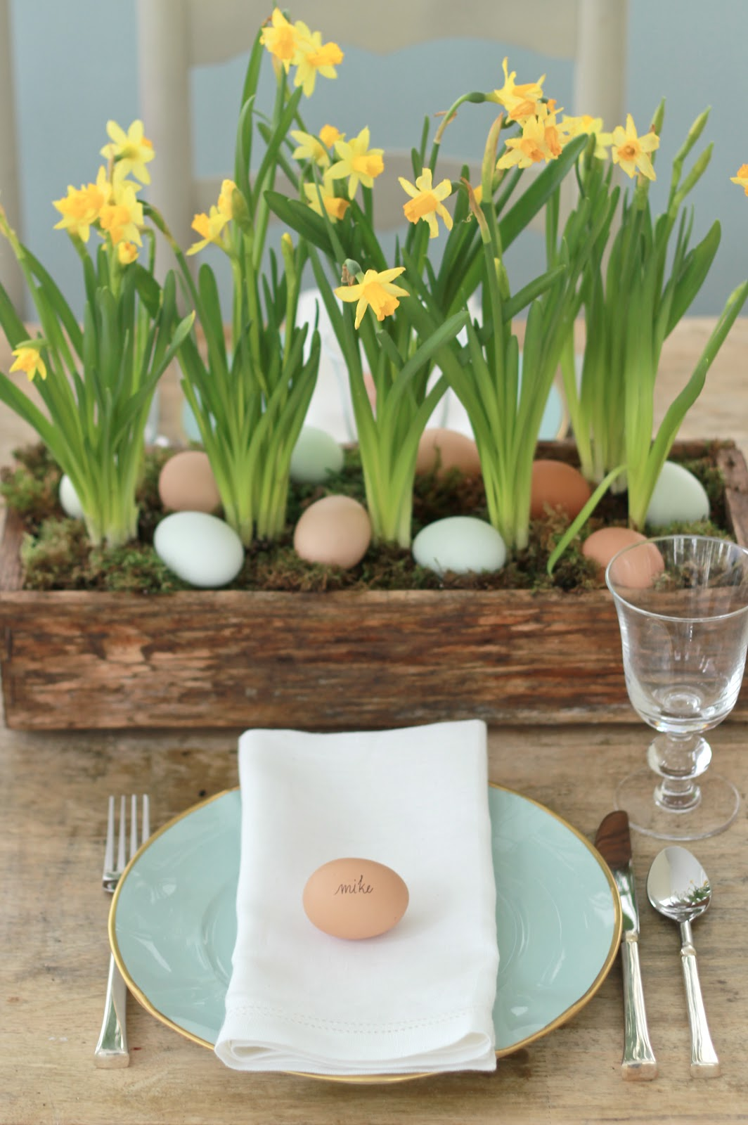 Flower Box Eggs Centre Piece