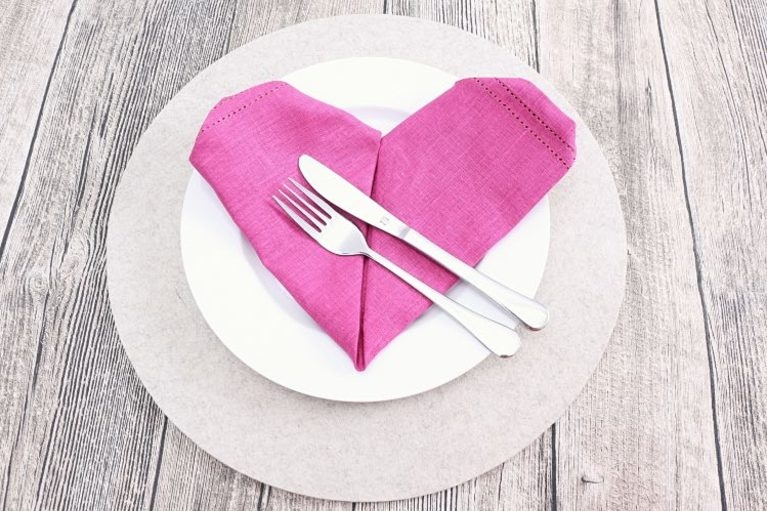 heart napkin fold for Galentine's Day