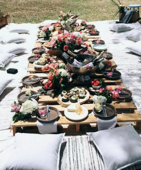 Boho Chic backyard table from skid