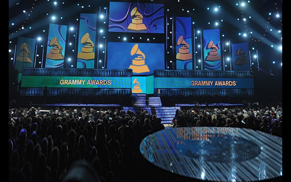 The 2016 Grammy Awards stage. 2017's rendition will be hosted by comedian James Corden.