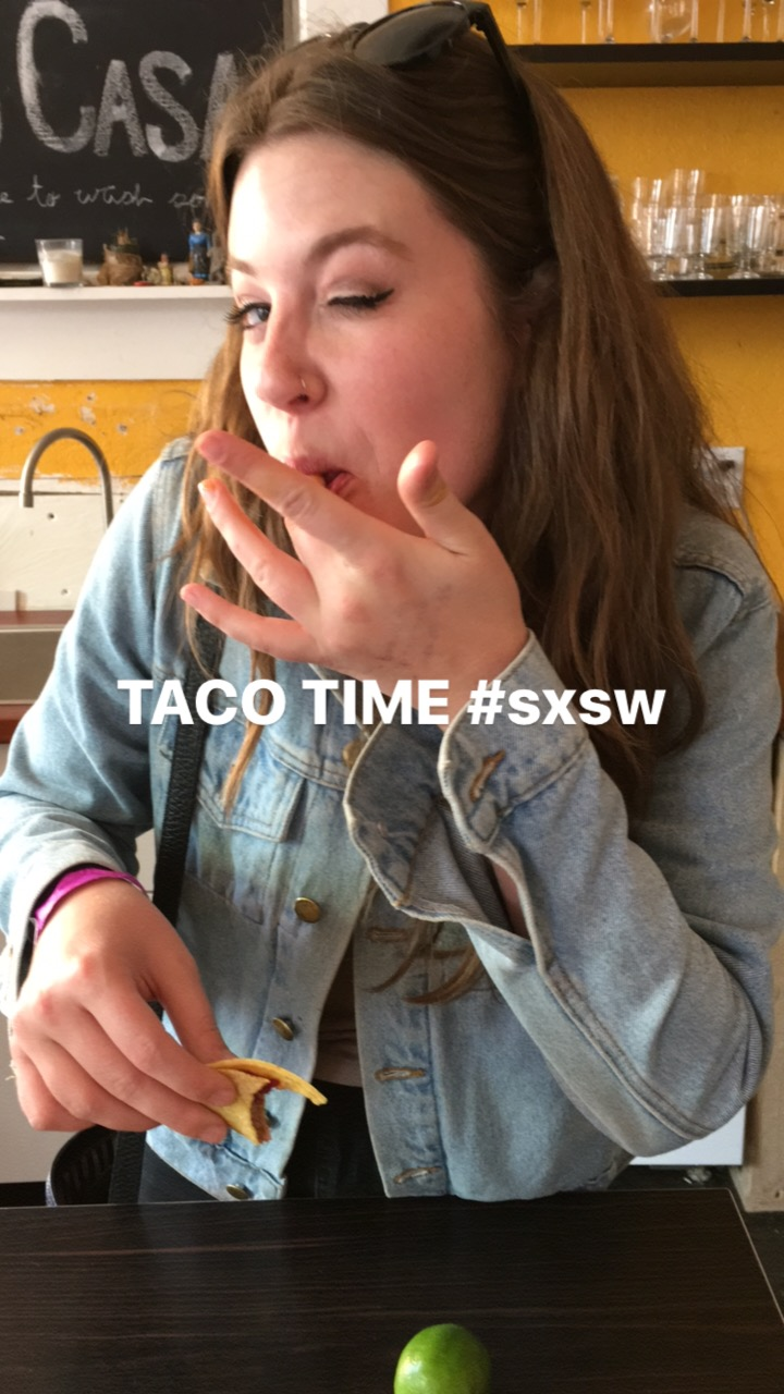 Me eating the best tacos in the world while in Austin, TX with The Secret Sisters for SXSW 2017.