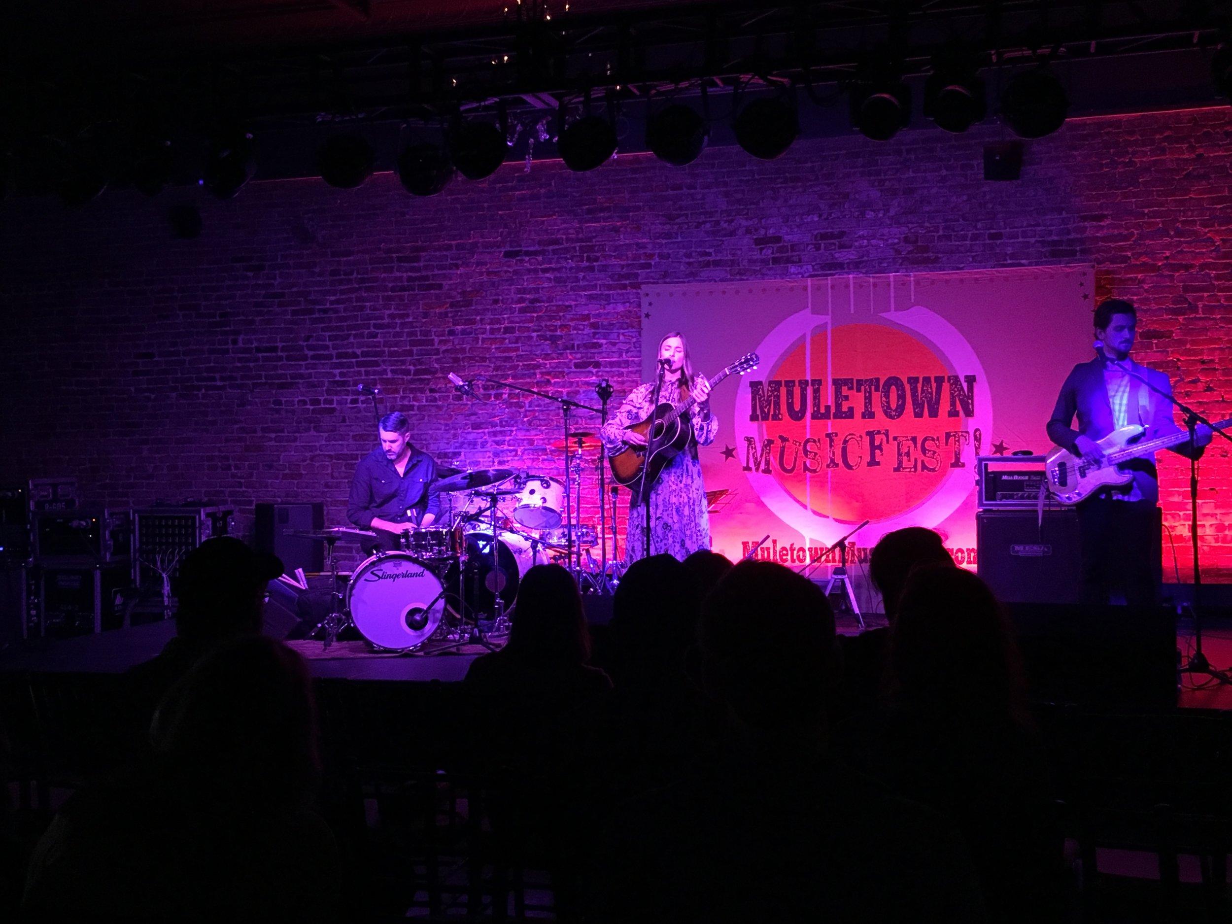 Jill Andrews performing at Muletown Music Fest in Columbia, TN