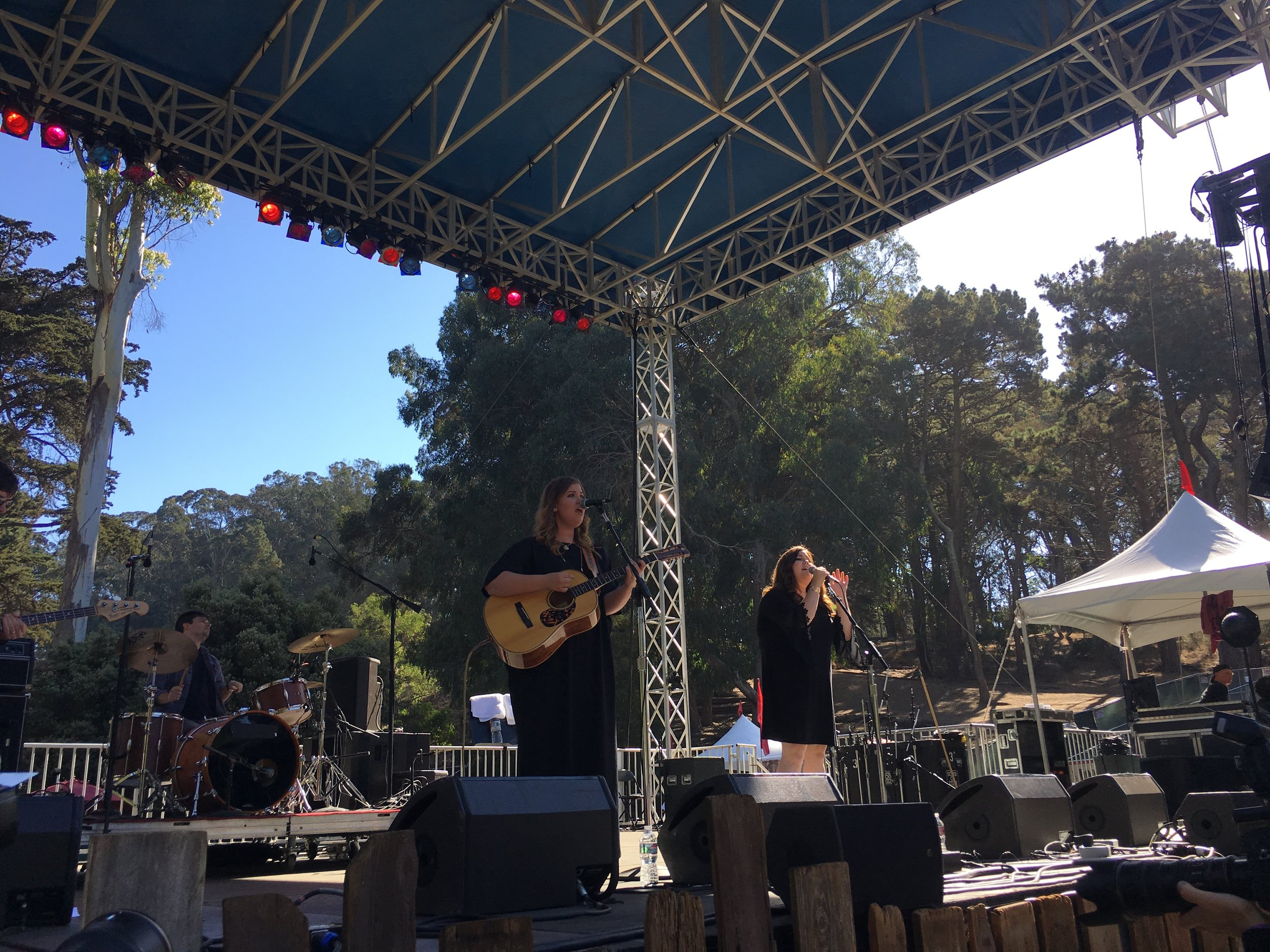 The Secret Sisters had some incredible scenery for their set at Hardly Strictly Bluegrass in San Francisco, CA