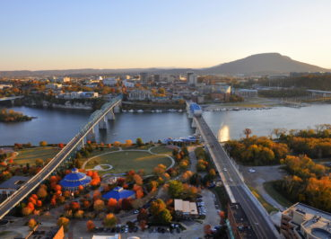 Aeriel view of Coolidge Park, the new home of the Moon River Music Festival.