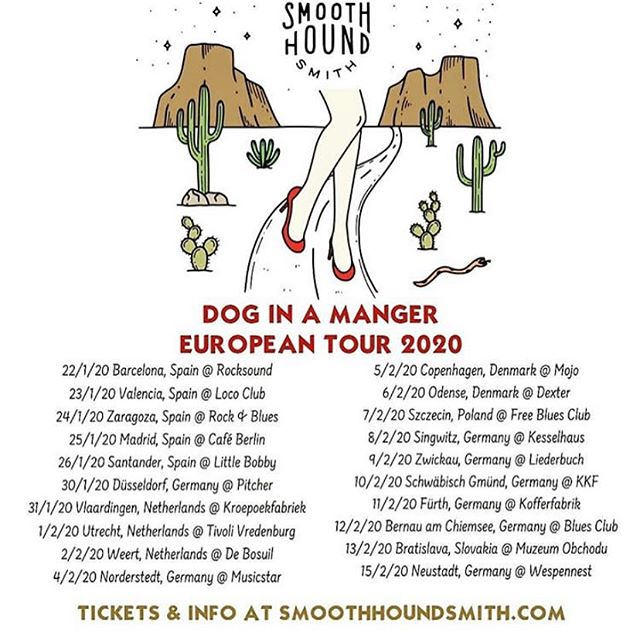 Spain, Germany, Denmark, the Netherlands, and more to come! @smoothhoundsmith takes Europe starting in 2020! 🇪🇸 🇩🇪 🇩🇰 🇳🇱