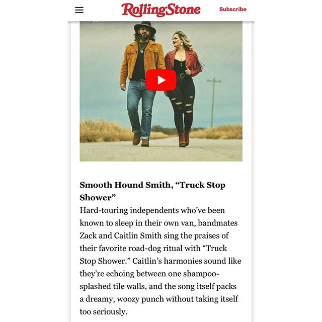 """""""Truck Stop Shower"""" is one of the best songs on the new @smoothhoundsmith record (but let's be honest we love them all) and @rscountry agrees. Thanks for naming it one of the top 10 Americana songs this week!"""