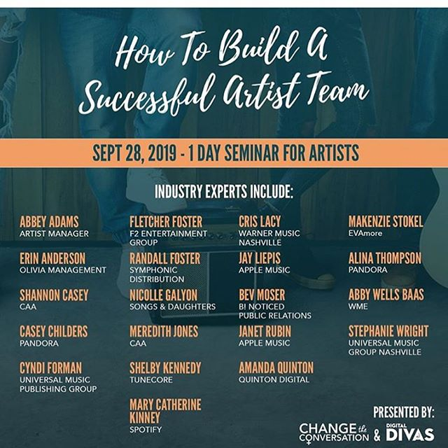 Join our CEO @erinoliviamgmt this weekend for an amazing event for artists. You know one of our passions is educating artists, so this is going to be a fun one. Thanks to @digitaldivasnash and @changetheconvo for putting it on!