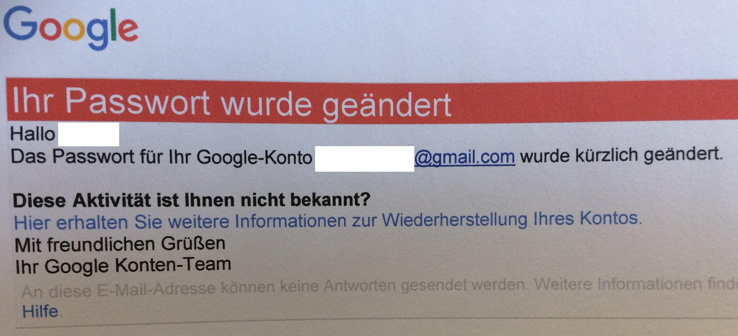 Google Kennwort-Wiederherstellung Nachricht