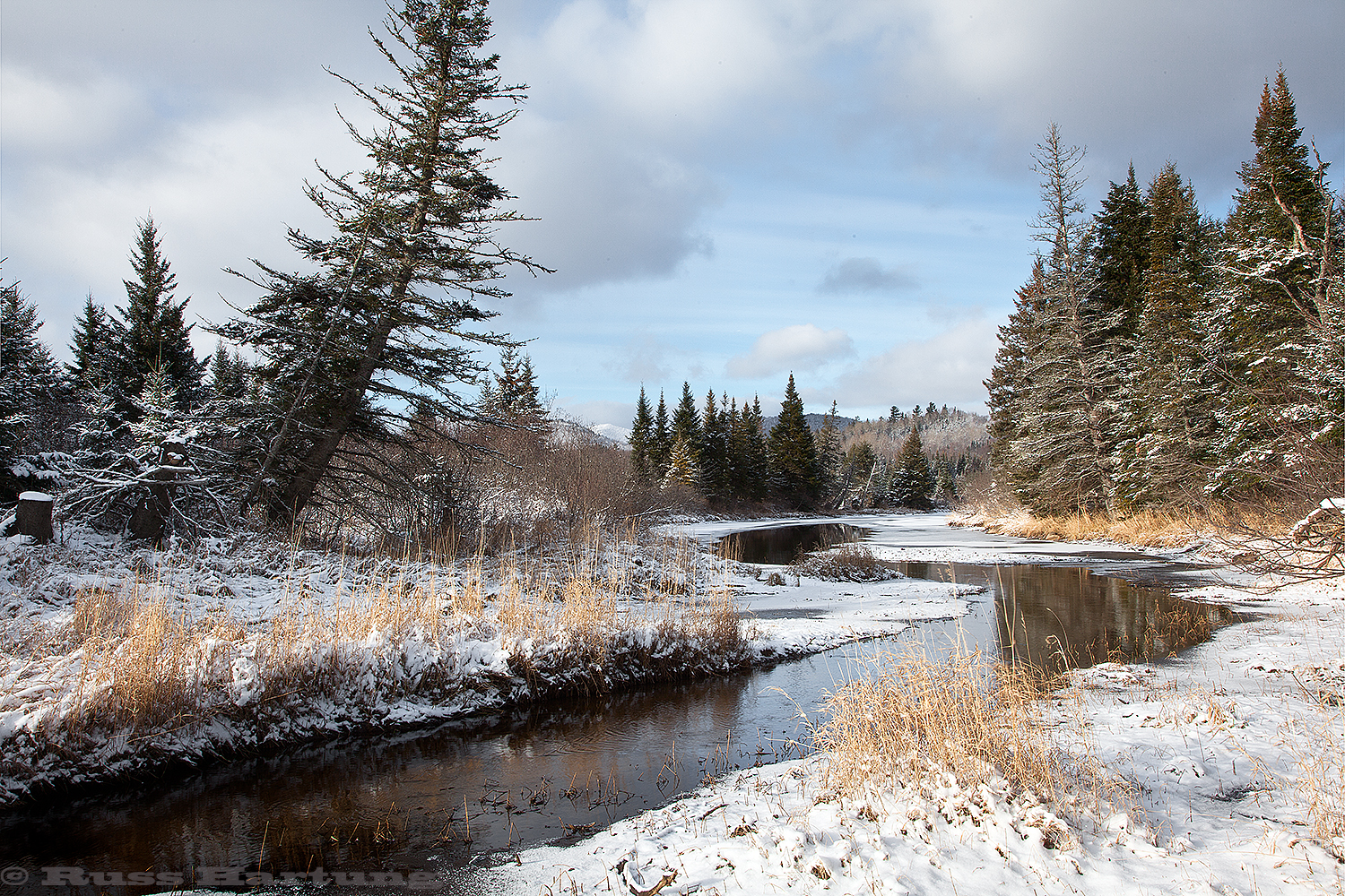 An early snow and a leaning pine tree near Lake Placid set off a stream as it disappears into the distant mountains.
