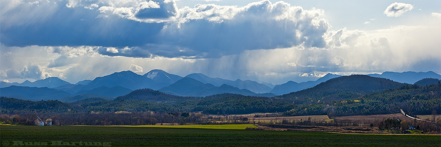 Looking West towards the high peaks over farmland in the Eastern foothills of the Adirondacks.