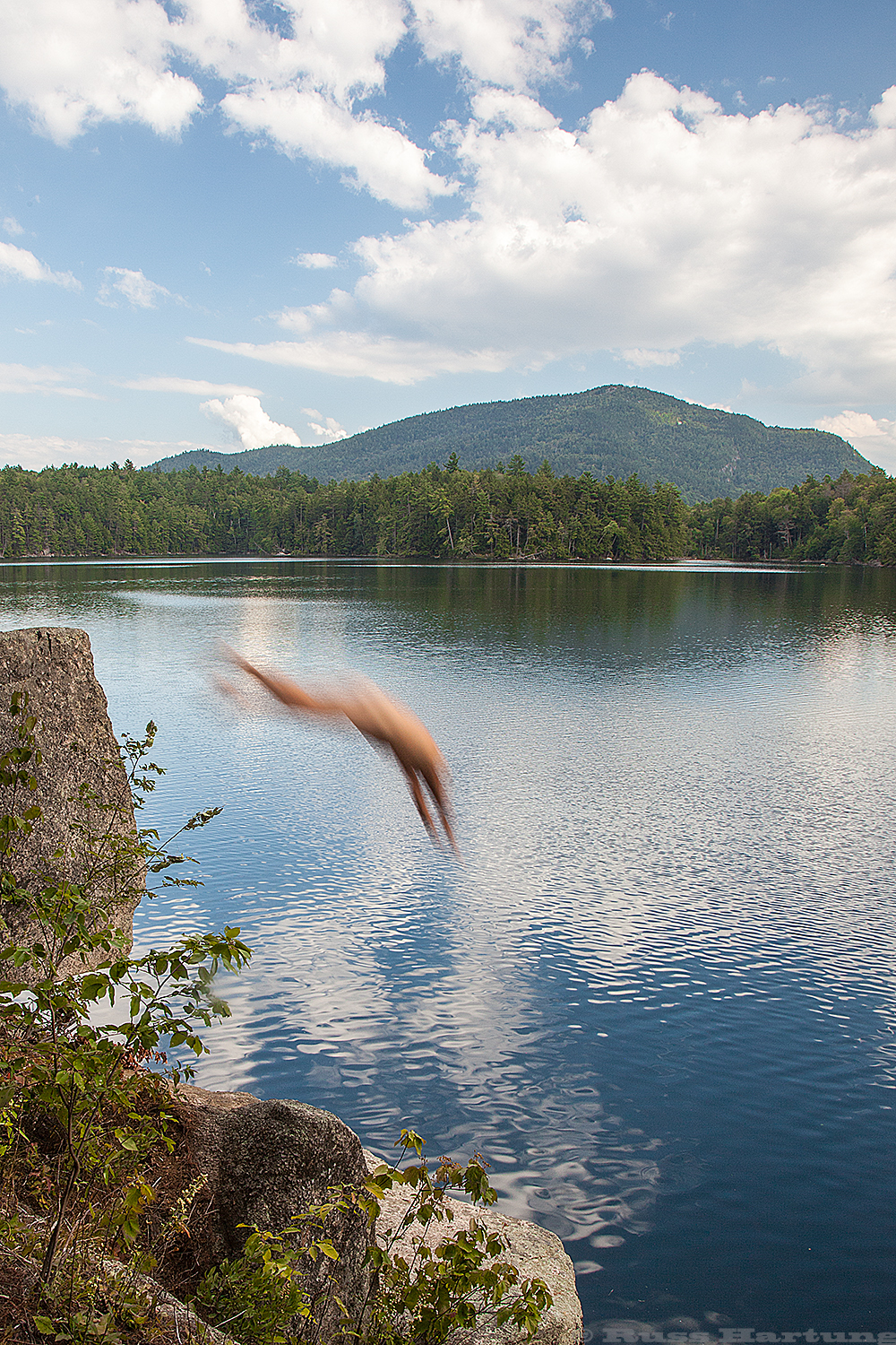 Swimming in the deep, clear water in the Pharaoh Mountain Wilderness. There is nothing like an Adirondack lake on a hot summer day.