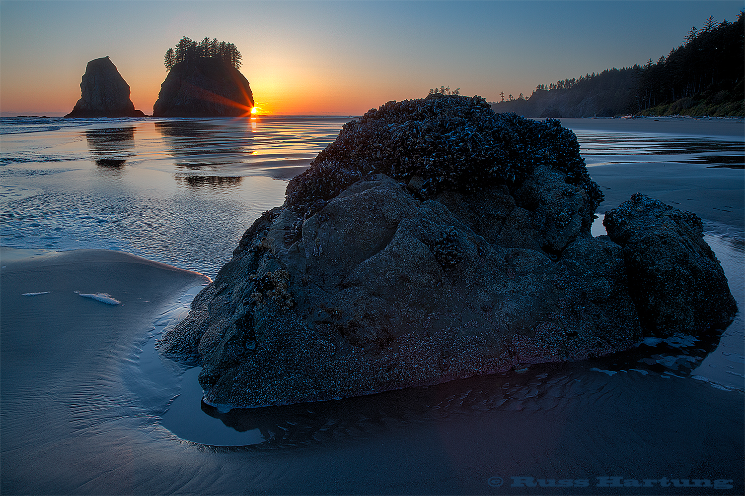Second Beach at sunset. This is a wilderness beach in the Olympic  National Park in Northwest Washington state.