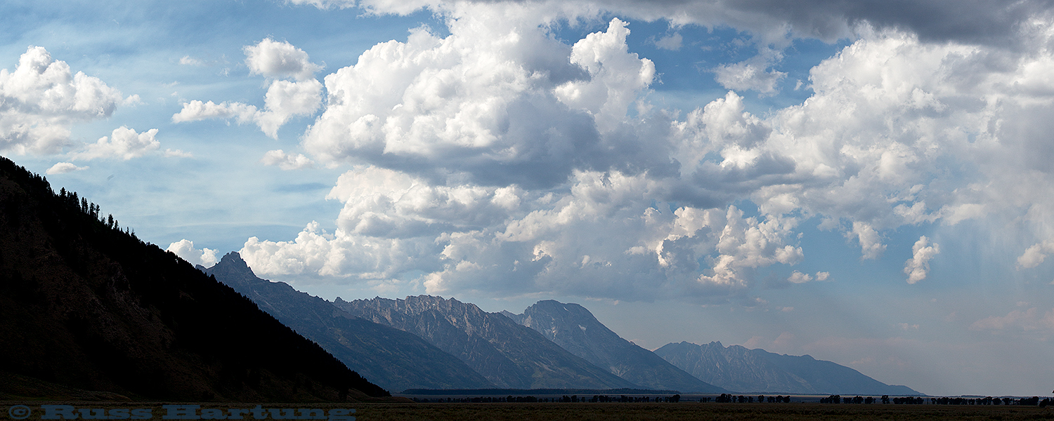 Panorama of the big sky near Jackson, Wyoming.