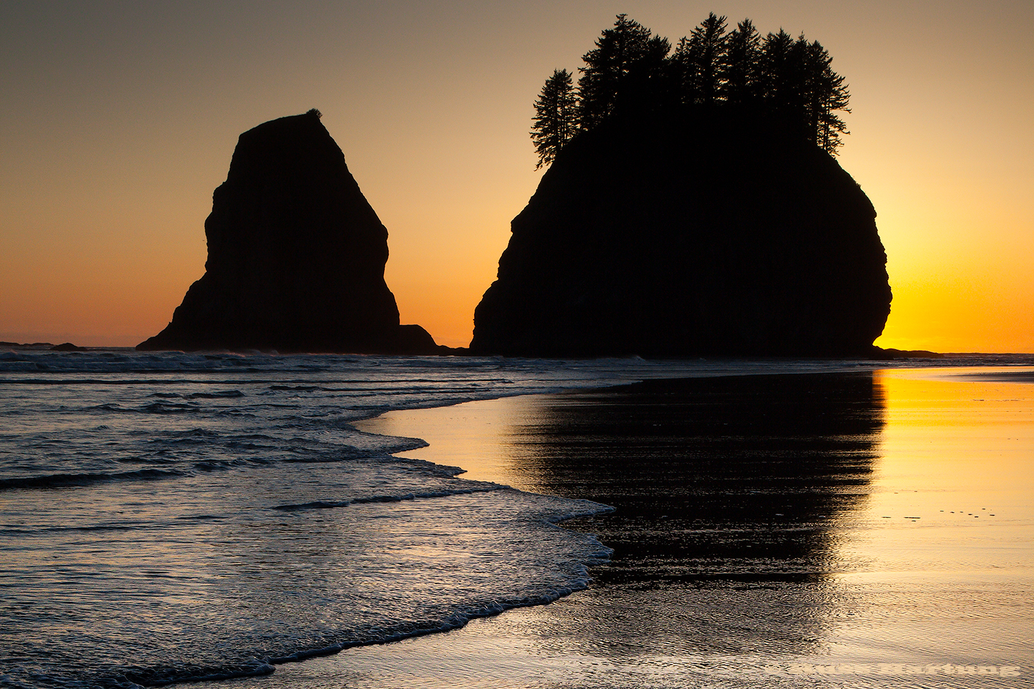 Sea stacks on Second Beach at sunset. This is a wilderness beach in the Olympic National Park in Washington State.