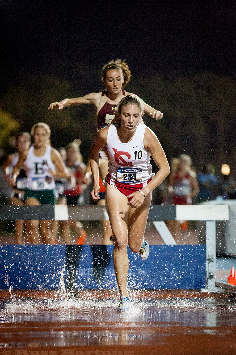 Genna Hartung clearing the water hurdle at the 2012 NCAA Division 1 Regional Championships in Jacksonville, Florida.