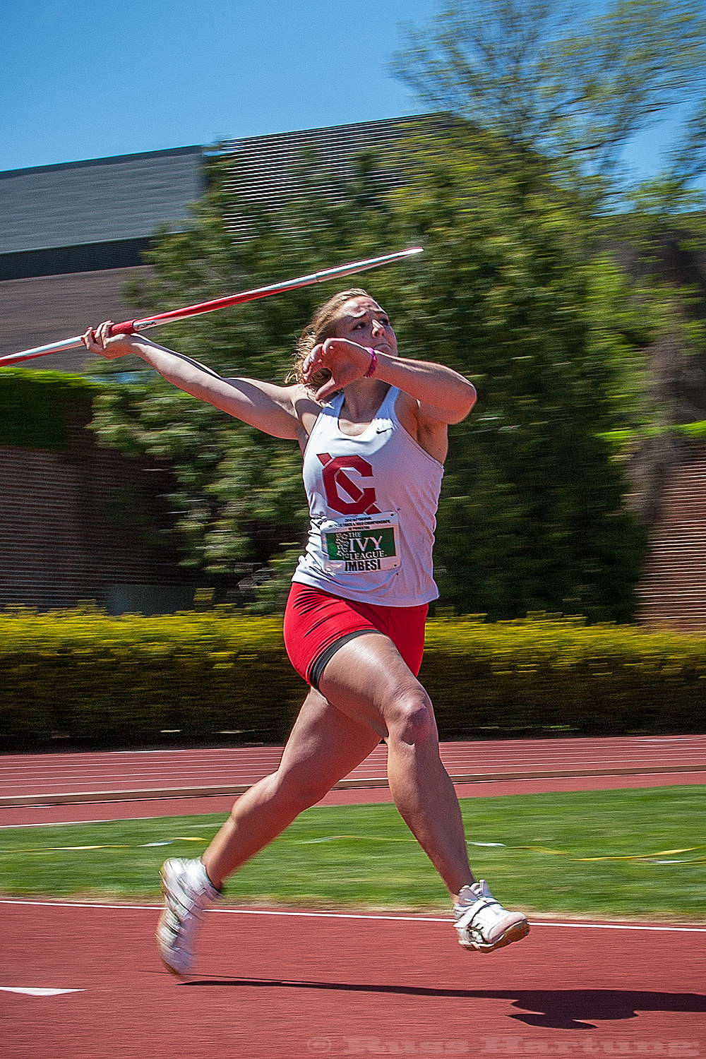 Victoria Imbesis competing in javelin at the 2013 Heptagonal Championships at Princeton.