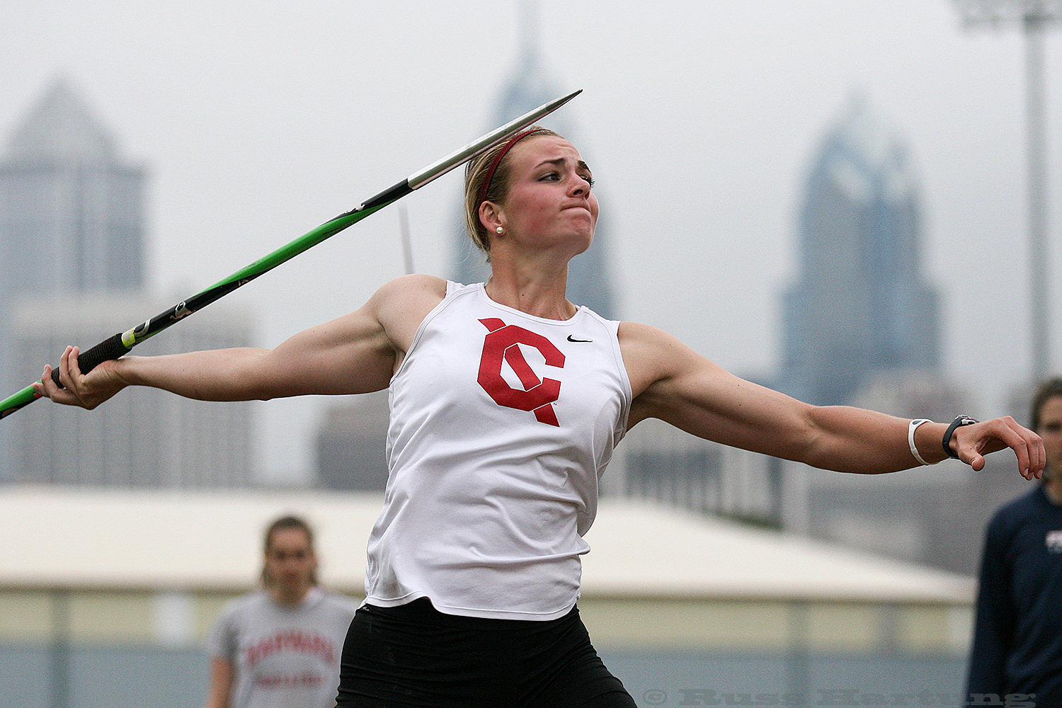 Victoria Imbesis competing in javelin at the 2012 Heptagonal Championships at Penn.