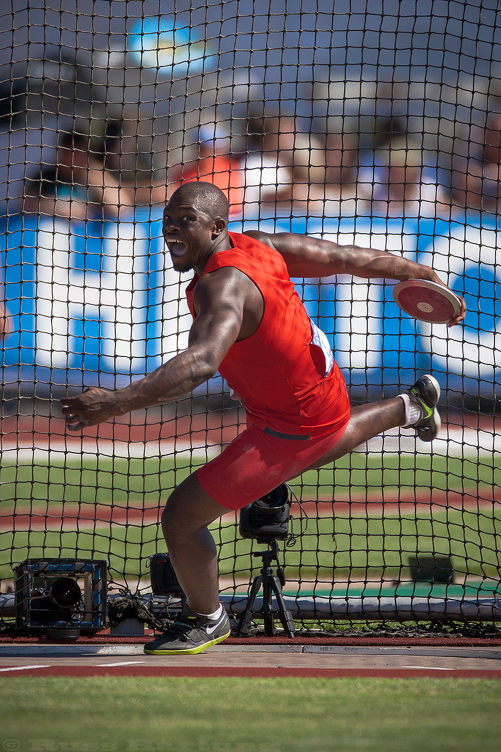 Steven Mozia competing in discus at the NCAA Division 1 National Championships in Eugene, Oregon. Steven also competed in the 2016 Rio Olympics for his home country of Nigeria.