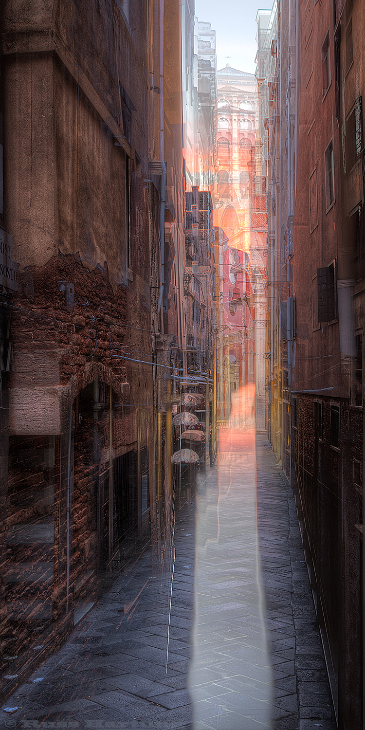 Triple exposure of a narrow street in Venice, Italy.