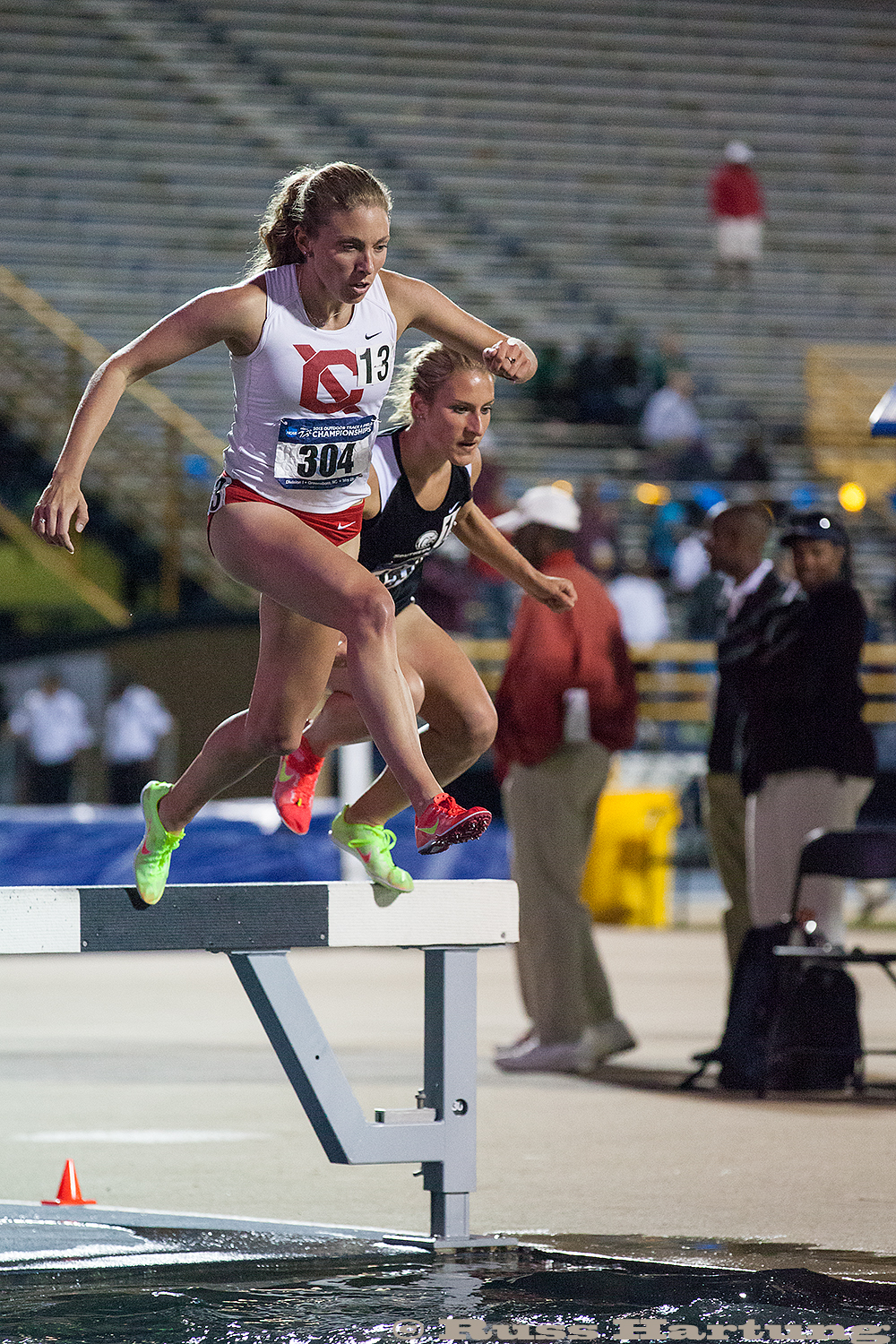 Genna Hartung competing in the steeplechase at the 2013 NCAA Division 1 Regional Championships in Greensboro, South Carolina.