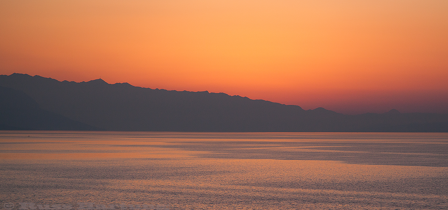 Coastal mountains at sunset. Split, Croatia.