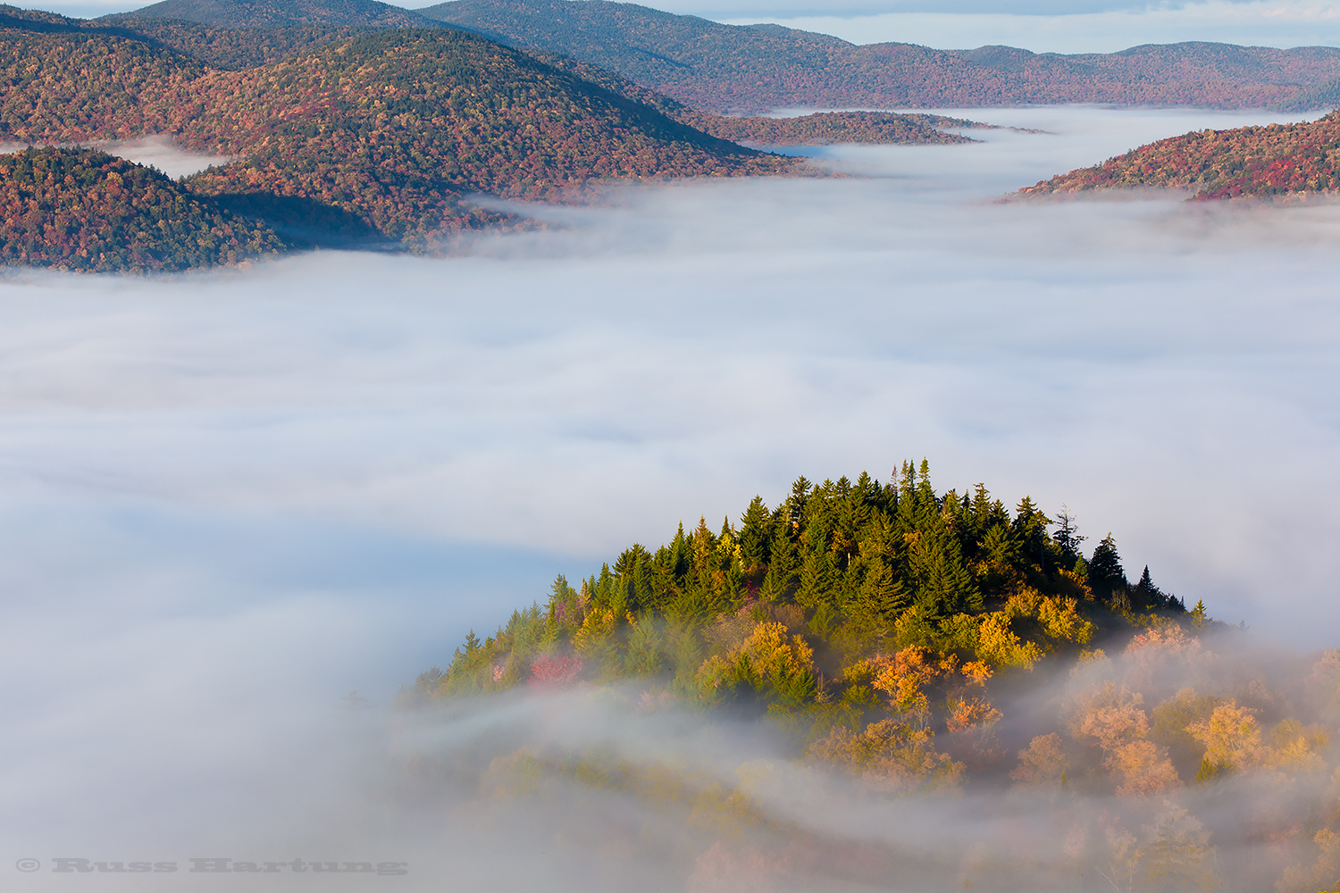 View from the Goodnow Mountain fire tower at peak foliage season.