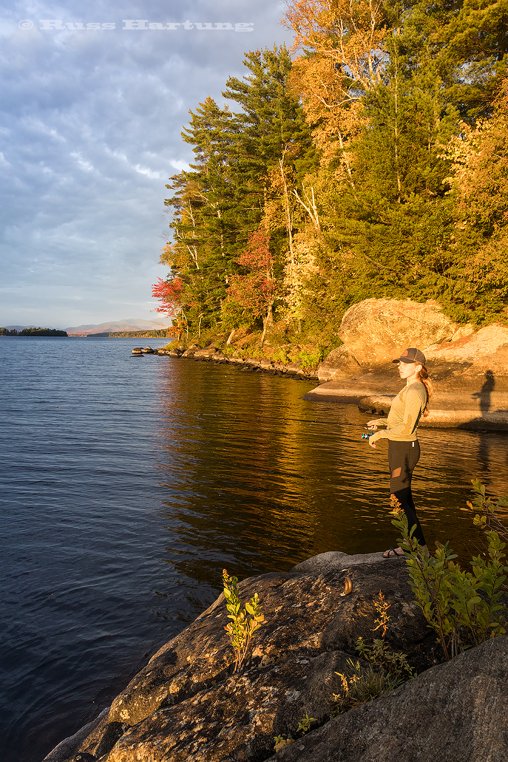 Fishing from our lean-to site on Long Pond at sunset.