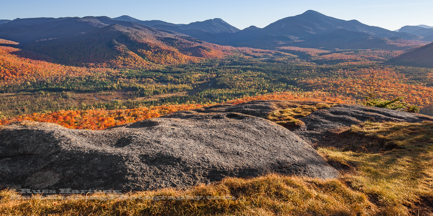 Late Autumn view of the High Peaks from Mount Van Hoevenberg.
