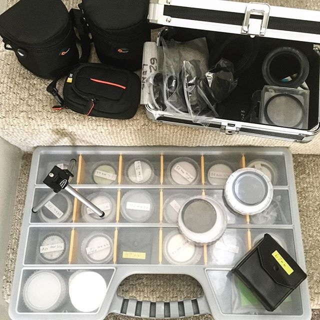 Can't believe we picked up this whole bundle at a yard sale today for only $5!! Don't know what we're going to do with all these lens filters, but we just couldn't pass up such a crazy deal 😜