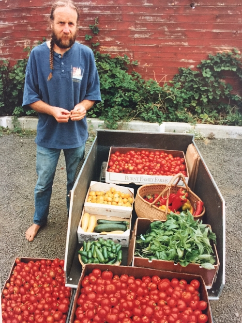 Photo: Farmer, Steve Habersetzer, at the Port Townsend Saturday Farmers Market in the parking lot by Elevated Ice Cream, 1992.
