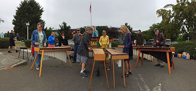 Yesango Marimba Band at the Port Townsend Farmers Market, photo from the August 12, 2017 farmers market
